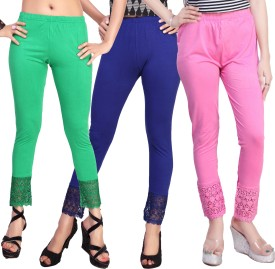 Comix Women's Light Green, Dark Blue, Pink Leggings Pack Of 3