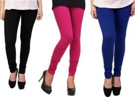 Dharamanjali Women's Black, Blue, Pink Leggings Pack Of 3