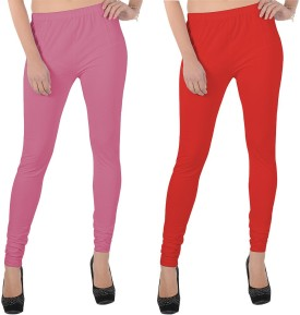X-Cross Women's Pink, Red Leggings Pack Of 2
