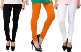 Lienz Women's Black, Orange, White Leggings Pack Of 3