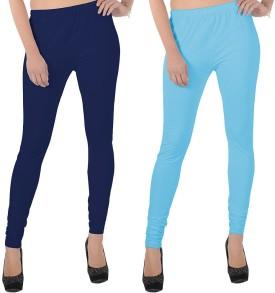 X-Cross Women's Dark Blue, Light Blue Leggings Pack Of 2