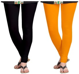Roshni Creations Girl's, Women's Black, Orange Leggings Pack Of 2