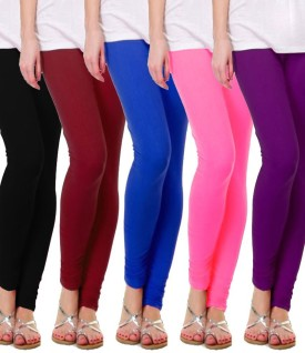 TarkshyaTrndz Women's Black, Red, Blue, Pink, Purple Leggings Pack Of 5
