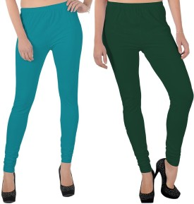 X-Cross Women's Light Blue, Dark Green Leggings Pack Of 2