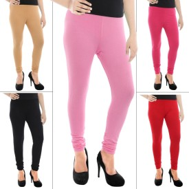 Paulzi Women's Beige, Black, Red Leggings Pack Of 5