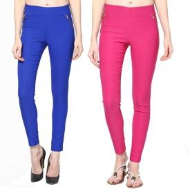 Dharamanjali Girl's Blue, Pink Jeggings Pack Of 2