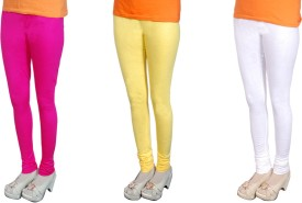 Radhika Garments Women's Pink, Yellow, White Leggings Pack Of 3