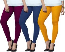 Lux Lyra Women's Purple, Light Blue, Yellow Leggings Pack Of 3