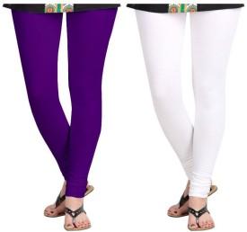 Fashion Guru Trading Women's Purple, White Leggings Pack Of 2