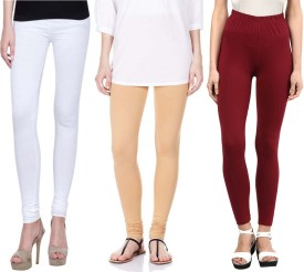 Sampoorna Collection Women's White, Beige, Maroon Leggings Pack Of 3
