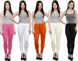 Pistaa Women's Pink, White, Orange, White, Black Leggings Pack Of 5
