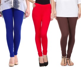Sampoorna Collection Women's Blue, Red, Brown Leggings Pack Of 3