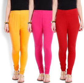 Ten On Ten Women's Yellow, Pink, Red Leggings Pack Of 3