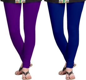 Aannie Women's Purple, Dark Blue Leggings Pack Of 2