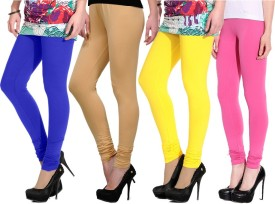 NGT Women's Pink, Blue, Beige, Yellow Leggings Pack Of 4