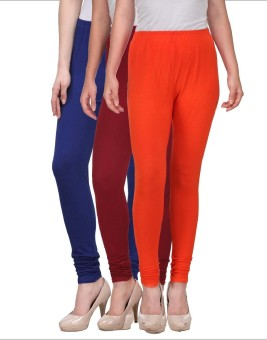 Desi Duos Women's Blue, Maroon, Orange Leggings Pack Of 3