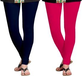Aannie Women's Dark Blue, Pink Leggings Pack Of 2