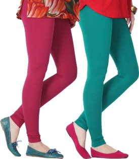 Blu Roller Women's Pink, Green Leggings Pack Of 2