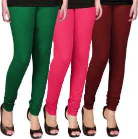 WCTrends Women's Green, Pink, Maroon Leggings Pack Of 3