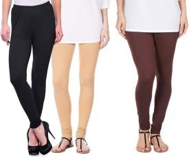 Sampoorna Collection Women's Black, Beige, Brown Leggings Pack Of 3