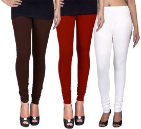 C&S Shopping Gallery Women's Brown, Maroon, White Leggings Pack Of 3