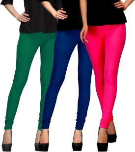 E'Hiose Women's Green, Dark Blue, Pink Leggings Pack Of 3
