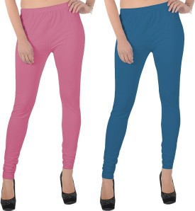 X-Cross Women's Pink, Blue Leggings Pack Of 2