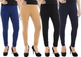 Paulzi Women's Blue, Beige, Black, Blue Leggings Pack Of 4
