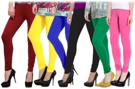 YouthStuff Women's Red, Black, Yellow, Blue, Pink, Green Leggings Pack Of 10