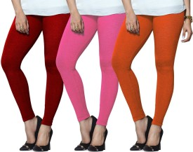 Lux Lyra Women's Red, Pink, Orange Leggings Pack Of 3