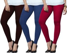 Lux Lyra Women's Maroon, Light Blue, Pink Leggings Pack Of 3
