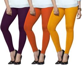 Lux Lyra Women's Purple, Orange, Yellow Leggings Pack Of 3