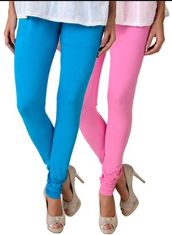Fasense Women's Blue, Pink Leggings Pack Of 2