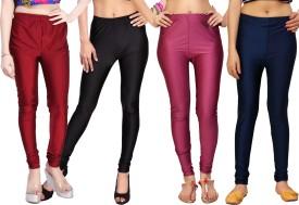 Comix Women's Maroon, Black, Maroon, Dark Blue Leggings Pack Of 4