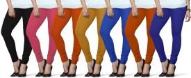Lux Lyra Women's Black, Pink, Orange, Yellow, Light Blue, Orange, Dark Blue Leggings Pack Of 7