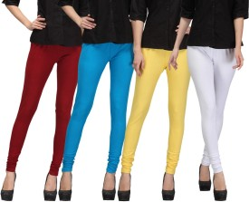 E'Hiose Women's Maroon, Blue, Yellow, White Leggings Pack Of 4