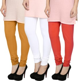 Fizzaro Women's White, Orange, Red Leggings Pack Of 3