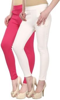 Skyline Trading Women's Pink, White Treggings Pack Of 2