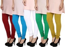 Fizzaro Women's Red, Blue, White, Green, Green Leggings Pack Of 5
