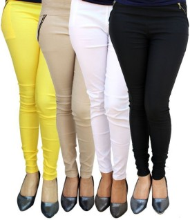 MAGRACE Women's, Girl's Yellow, Beige, White, Black Jeggings Pack Of 4