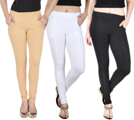 Nimya Women's Beige, White, Black Jeggings Pack Of 3
