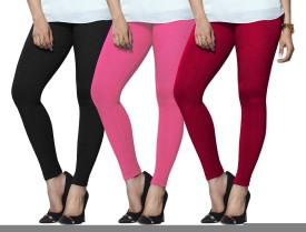 Lux Lyra Women's Black, Pink, Pink Leggings Pack Of 3