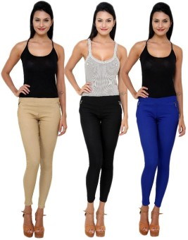 Bhuwal Fashion Women's Blue, Beige, Black Jeggings Pack Of 3