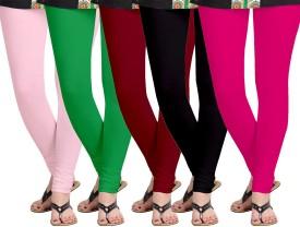 Aannie Women's Pink, Green, Maroon, Black, Pink Leggings Pack Of 5