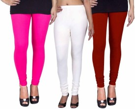 Fashion Flow+ Women's Pink, White, Maroon Leggings Pack Of 3