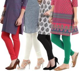 Amoya Women's Red, Black, White, Dark Green Leggings Pack Of 4