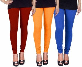 C&S Shopping Gallery Women's Maroon, Yellow, Blue Leggings Pack Of 3