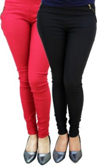 Roma Creation Women's Red, Black Jeggings Pack Of 2