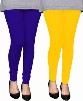 PAMO Women's Yellow, Blue Leggings Pack Of 2
