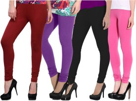 NGT Women's Maroon, Purple, Black, Pink Leggings Pack Of 4